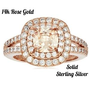 NEW 14k Rose Gold Champagne Halo Ring 7